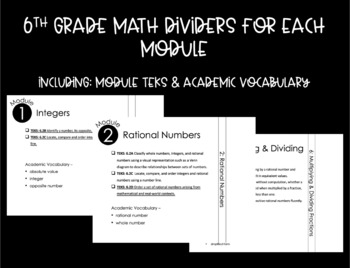 6th Grade Math Dividers with TEKS & Academic Vocabulary