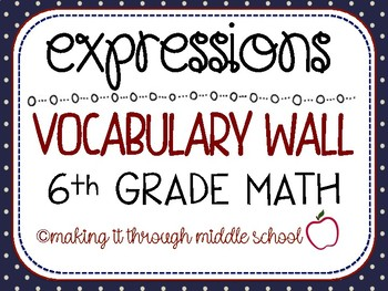 6th Grade Math - {EXPRESSIONS} Unit Vocabulary Wall