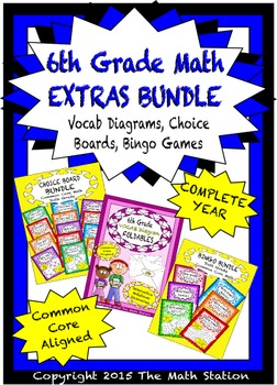 6th Grade Math EXTRAS BUNDLE - Choice Boards, Vocab Diagra