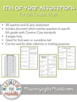 6th grade math end of year test teaching resources teachers pay 6th grade math end of year cumulative assessment fandeluxe Gallery