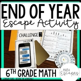 6th Grade Math End of Year Escape Room Activity