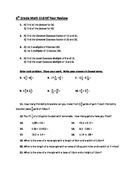6th Grade Math End of Year Review *ALL Common Core math st