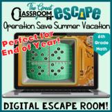 6th Grade Math End of the Year Digital Escape Room - Dista