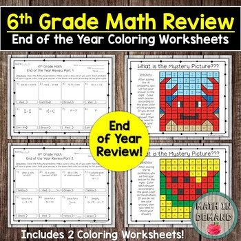 6th Grade Math End of the Year Review Coloring Worksheets