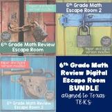 6th Grade Math Escape Room Activities--Digital and Paper--Texas TEKS