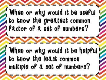 6th Grade Math Essential Questions *Common Core Aligned* Rainbow Chevron