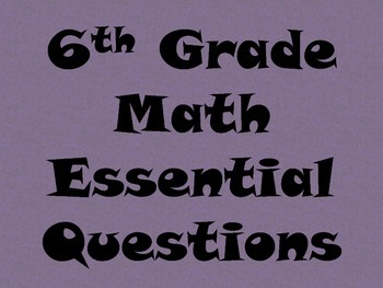 6th Grade Math Essential Questions for Posting - White Background Print
