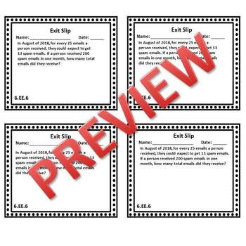 6th Grade Math Exit Slips/Exit Tickets Expressions & Equations