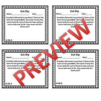 6th Grade Math Exit Slips, 6th Grade Math Exit Tickets, Number System