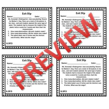 6th Grade Math Exit Tickets/Exit Slips Statistics & Probability