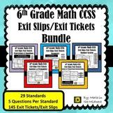 6th Grade Math Exit Tickets/Exit Slips Bundle {Common Core}