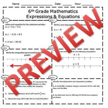 6th Grade Math Expressions & Equations Assessment/Exam/Test/Review {EDITABLE}