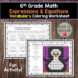 6th Grade Math Expressions & Equations Vocabulary Coloring Worksheet