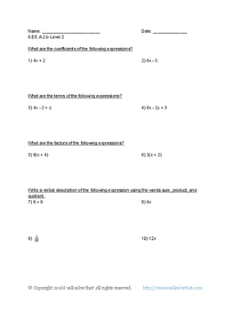 6th Grade Math: Expressions and Equations 6.EE.A.2.b