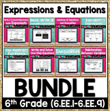 6th Grade Math Expressions and Equations Digital Activities Bundle 6.EE.1-6.EE.9