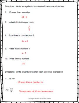 6th Grade Math – Expressions and Equations – Generating Algebraic Expressions