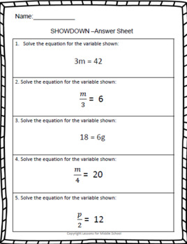 6th Grade Math – Expressions and Equations – Multiplying and Dividing Equations