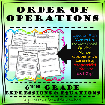 6th Grade Math – Expressions and Equations – Order of Operations