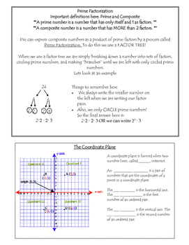 6th Grade Math Final Review Packet