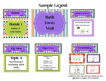 6th Grade Math Focus Wall & 112 Vocabulary Word Wall Card Bundle