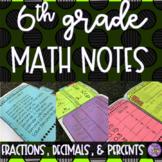 6th Grade Math - Fractions, Decimals, & Percents Notes