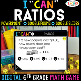 6th Grade Math Game DIGITAL   Ratios and Unit Rate   Distance Learning
