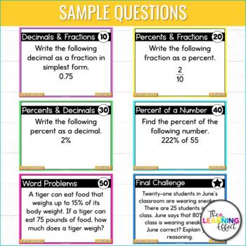 6th Grade Math Game | Fractions, Decimals, Percents