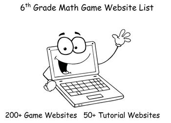 6th Grade Math Game Website Links