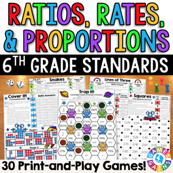 6th Grade Math Games: Ratios, Rates, & Proportions {6.RP.1, 6.RP.2, 6.RP.3}