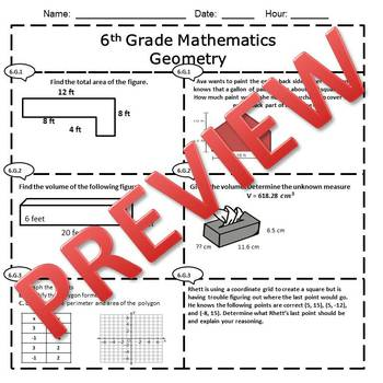 6th Grade Math Geometry Assessment/Exam/Test/Review {EDITABLE}