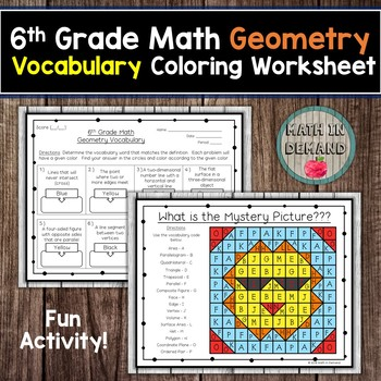 6th Grade Math Geometry Vocabulary Coloring Worksheet