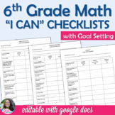6th Grade Math Goal Setting and Student Learning Targets I CAN Checklists BTS