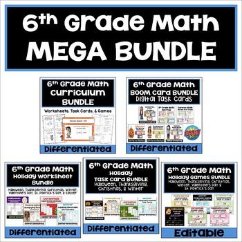 6th Grade Math Bundle (Differentiated Worksheets, Task Car