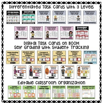 6th Grade Math Curriculum with Differentiated Worksheets, Task Cards, and Games