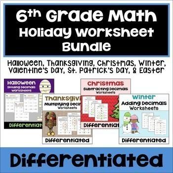 6th Grade Math Holiday Worksheet Bundle By Sheila Cantonwine Tpt