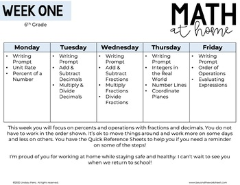 6th Grade Math Home Learning Template for Distance Learning