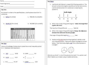 6th Grade Math Homework for the Year