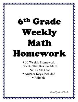 6th Grade Math Homework or Weekly Warm Ups