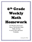 Two Dollar Deal!  6th Grade Math Homework or Weekly Warm Ups