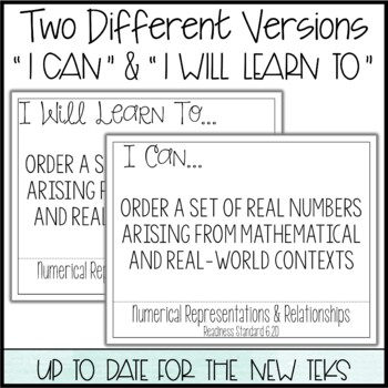 """6th Grade Math TEKS  - """"I Can"""" Statements / """"I Will Learn To"""" Posters"""