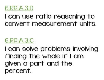 6th Grade Math I Can Statements