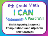 6th Grade Math I Can Statements and Word Wall (Set 2)