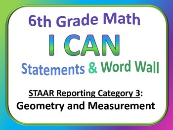 6th Grade Math I Can Statements and Word Wall (Set 3)