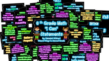 "6th Grade Math ""I Can"" Statements in NEON"