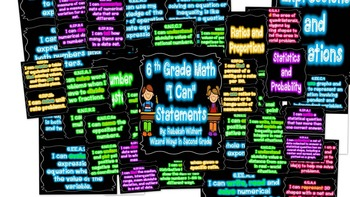 """6th Grade Math """"I Can"""" Statements in NEON"""