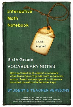 6th Grade Math: Interactive Math Notebook for All Vocabulary Words