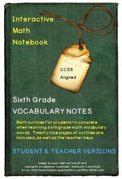 6th Grade Math: Interactive Math Notebook for All Vocabula