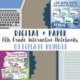 6th Grade Math Interactive Notebook, Digital + Paper (Google & PDF Formats)