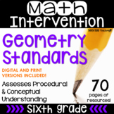 6th Grade Math Intervention Pack GEOMETRY NO PREP Guided Math RTI Math Resources