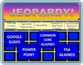 6th Grade Math Jeopardy- Expressions and Equations (EE standards)
